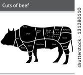 beef cut or cuts of beef vector | Shutterstock .eps vector #131280110