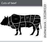beef cut or cuts of beef vector | Shutterstock .eps vector #131280110