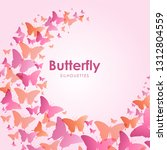 gradient butterfly silhouettes... | Shutterstock .eps vector #1312804559
