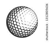 vector golf ball close up | Shutterstock .eps vector #1312805636