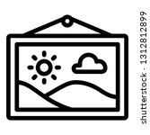 landscape painting icon outline ...