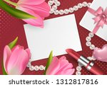 bright banner with 3d realistic ... | Shutterstock .eps vector #1312817816