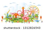 amusement park with carousels... | Shutterstock .eps vector #1312826543