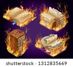 set isometric old burning books ...