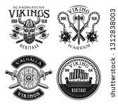 vikings set of four vector... | Shutterstock .eps vector #1312838003