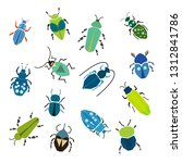 bugs  insects. modern set of... | Shutterstock .eps vector #1312841786