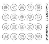 set round line icons of contact ... | Shutterstock .eps vector #1312879940