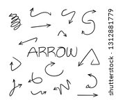 doodle and hand drawn arrows... | Shutterstock .eps vector #1312881779