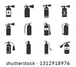 fire extinguisher icons set... | Shutterstock . vector #1312918976