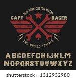 cafe racer. handmade serif font.... | Shutterstock .eps vector #1312932980