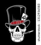 illustration of skull wearing... | Shutterstock . vector #1312936583