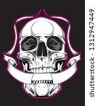 illustration of skull. design... | Shutterstock . vector #1312947449