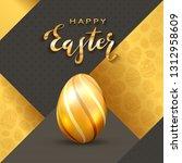 golden easter egg and lettering ... | Shutterstock .eps vector #1312958609