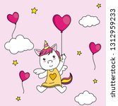 cute unicorn flying with a...   Shutterstock .eps vector #1312959233