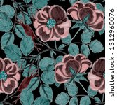 floral seamless pattern with... | Shutterstock . vector #1312960076