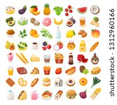 set of colorful food icons.... | Shutterstock .eps vector #1312960166
