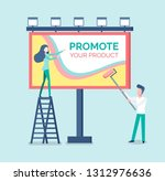 people painting advertisement... | Shutterstock .eps vector #1312976636