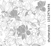 seamless pattern with magnolia... | Shutterstock .eps vector #1312976696