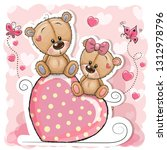two cartoon bears is sitting on ... | Shutterstock .eps vector #1312978796