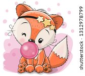 cute cartoon fox with bubble... | Shutterstock .eps vector #1312978799