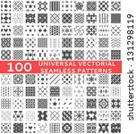 100 Universal different vector seamless patterns (tiling). Endless texture can be used for wallpaper, pattern fills, web page background,surface textures. Set of monochrome geometric ornaments.