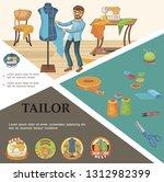 flat tailoring elements concept ... | Shutterstock .eps vector #1312982399