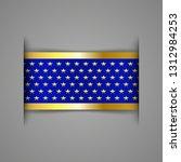 banner ribbon. blue with golden ... | Shutterstock .eps vector #1312984253