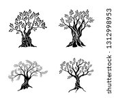 olive trees silhouette icon set ... | Shutterstock . vector #1312998953