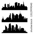 silhouette of city with black... | Shutterstock . vector #1312999040