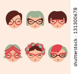 fashion girls in glasses icon set vector illustration eps 10 - stock vector