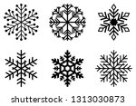 set of black frosty snowflakes... | Shutterstock .eps vector #1313030873