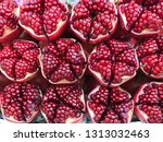 pomegranate background  red... | Shutterstock . vector #1313032463