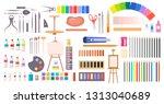 art supplies raster... | Shutterstock . vector #1313040689