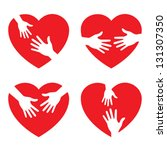 set of heart icon with caring...   Shutterstock .eps vector #131307350