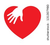 heart icon with caring hand ... | Shutterstock .eps vector #131307980