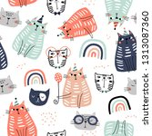 seamless childish pattern with... | Shutterstock .eps vector #1313087360