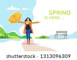 spring time. young happy woman... | Shutterstock .eps vector #1313096309