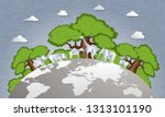 world forest preservation and... | Shutterstock .eps vector #1313101190