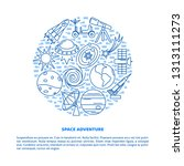 space elements banner in line... | Shutterstock .eps vector #1313111273