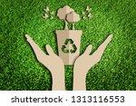 saving tree. paper art style of ... | Shutterstock . vector #1313116553