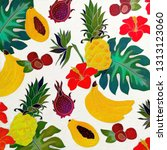 hand drawing tropical fruits | Shutterstock . vector #1313123060
