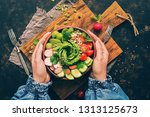 healthy vegan salad  avocado ... | Shutterstock . vector #1313125673