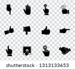 vector hand language icons set  ... | Shutterstock .eps vector #1313133653