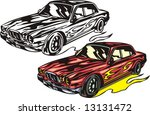 "The red car of mark ""BMW"" with red vinyl. Flaming hotrods. Vector illustration - color + b/w versions."