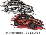 "The red car of mark ""Volkswagen"". Flaming hotrods. Vector illustration - color + b/w versions."