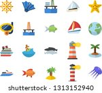 color flat icon set fish flat...
