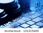 credit card. black and white... | Shutterstock . vector #131315600