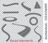 curved vector roads silhouettes ... | Shutterstock .eps vector #1313156009