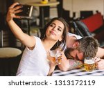 take selfie to remember great... | Shutterstock . vector #1313172119