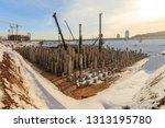 pile driving in foundation pit... | Shutterstock . vector #1313195780